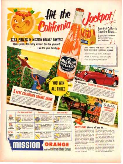 Mission Orange Drink Bottle California (1952)