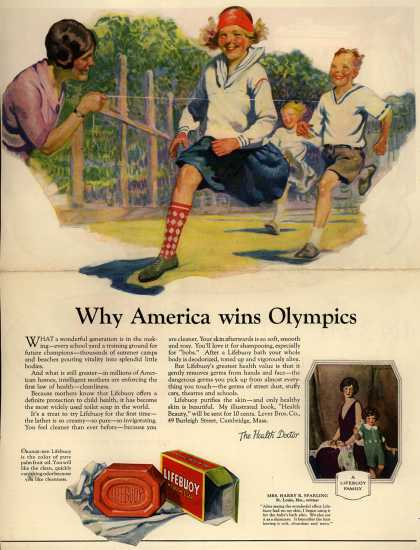 Lever Brothers Company's Lifebuoy Health Soap – Why America wins Olympics (1925)