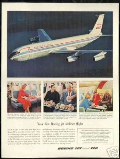 Boeing 707 Airplane Photo Interior Exterior (1958)