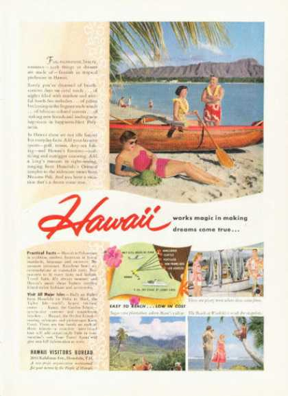 Hawaii Travel Ad Wood Outrigger Canoe (1955)