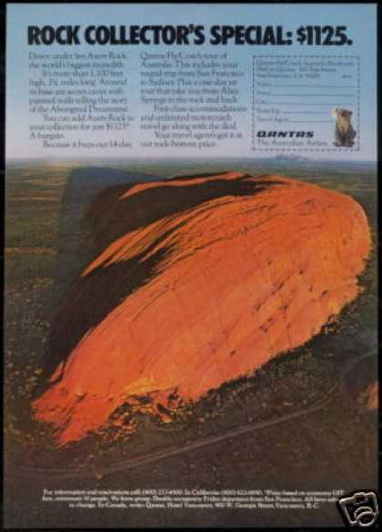 Qantas Airlines Ayers Rock Australia Photo (1975)