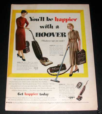 """Happier With a Hoover"" Ad, Exc (1949)"