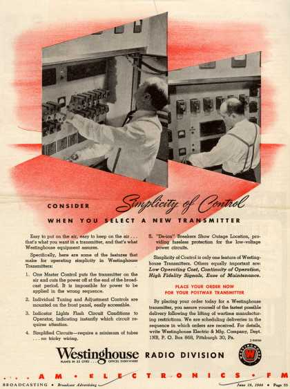 Westinghouse Electric & Manufacturing Company's Transmitters – Consider Simplicity of Control When You Select A New Transmitter (1944)