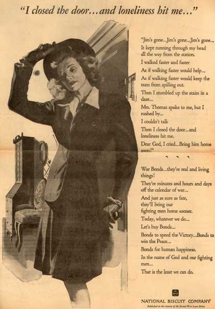 "National Biscuit Company [Nabisco]'s 2nd War Loan Drive – ""I closed the door... and loneliness hit me..."" (1943)"