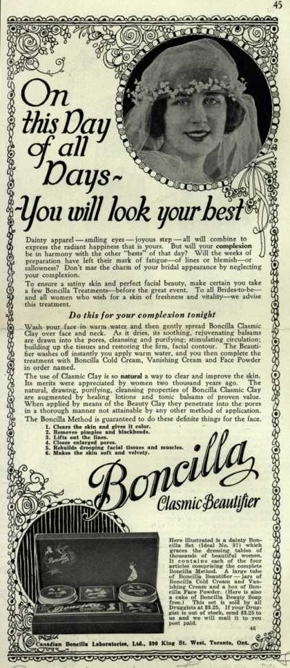 Canadian Boncilla Laboratories, Ltd.'s Boncilla Cosmetics – On this Day of all Days – You will look your best (1924)