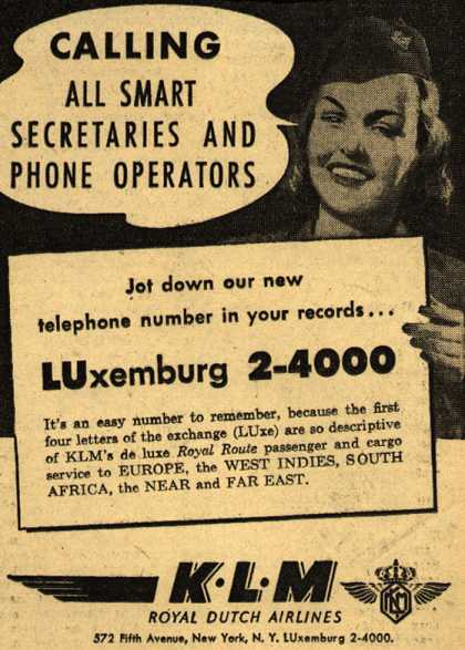 KLM Royal Dutch Airline's New Telephone Number – Calling All Smart Secretaries And Phone Operators (1948)