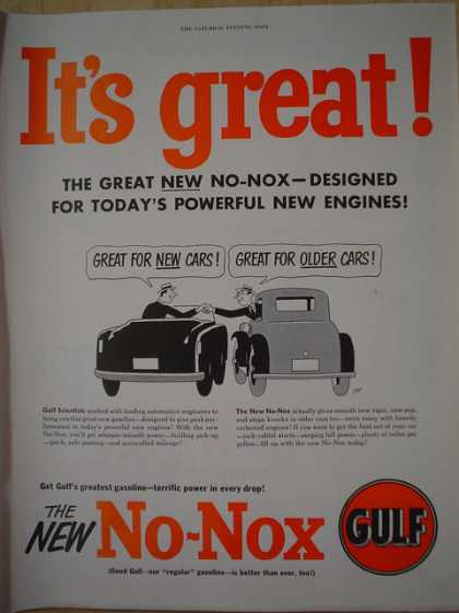 Gulf No Nox Gasoline Gas Designed for todays powerful new engines (1950)