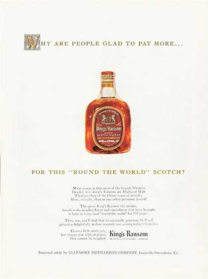Glenmore Kings Ransom Scotch Bottle (1963)