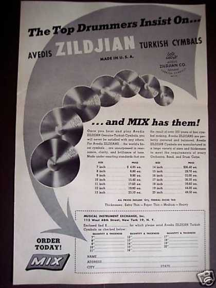 Avedis Zildjian Turkish Cymbals for Drums (1948)