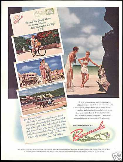 Bermuda Travel Beach Carriage Flowers (1947)