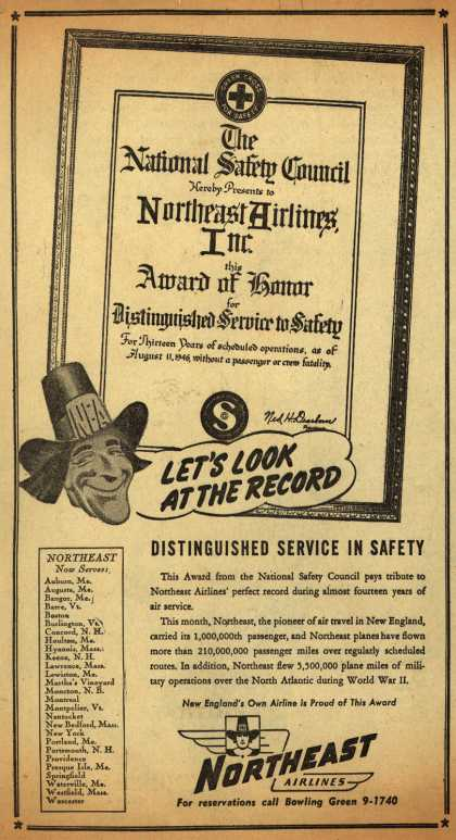 Northeast Airline's Safety – LET'S LOOK AT THE RECORD (1947)