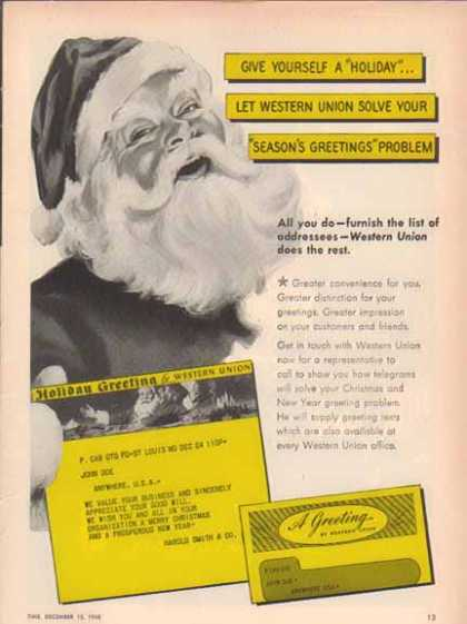 Western Union Christmas – Santa Claus – Sold (1948)