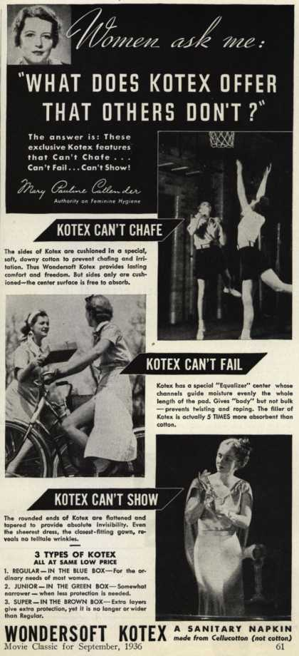"Kotex Company's Wondersoft Kotex – Women ask me: ""What Does Kotex Offer That Others Don't?"" (1936)"