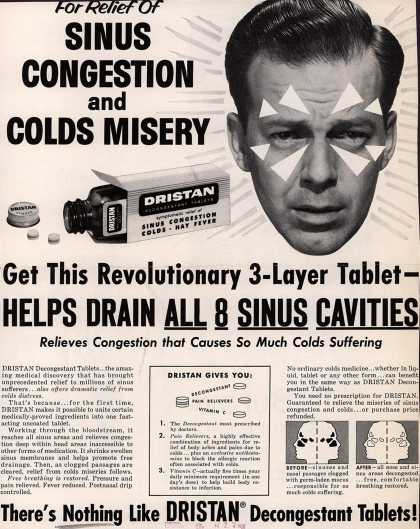 Unknown's Dristan Decongestion Tablets – For Relief of Sinus Congestion and Colds Misery (1958)