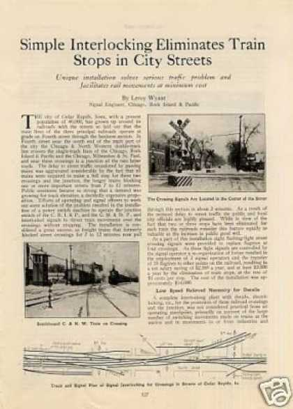 """Interlocking Eliminates Train Stops"" Article/ri (1927)"