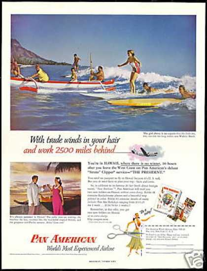 Surfers Surfboard Hawaii Pan Am Airlines (1953)