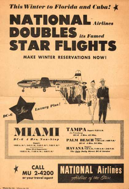 National Airline's Florida and Cuba – National Airlines Doubles its Famed Star Flights (1950)