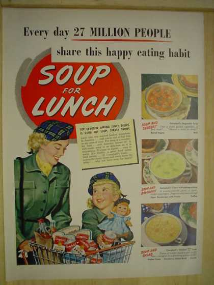 Campbell's Soup. Soup for lunch Mother daughter theme (1950)