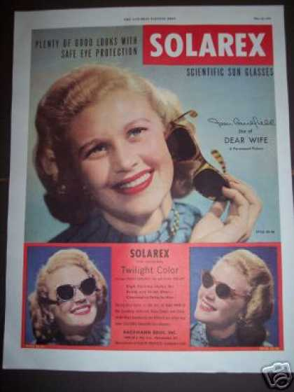 Star Joan Caulfield Solarex Sun Glasses (1949)