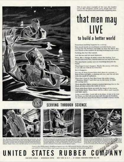 Life-saving Suits at Sea Wwii Us Rubber (1944)