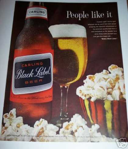 Bar Art Decor Carling Black Label Beer Ad Popcorn (1963)