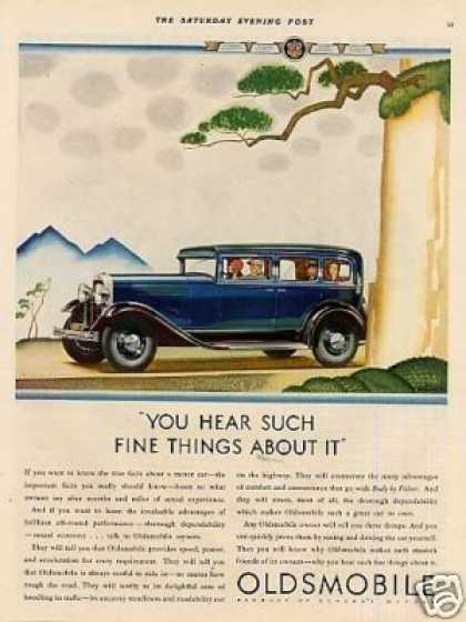 "Oldsmobile Car Color Ad ""You Hear Such... (1930)"