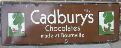 Cadbury's Bournville Chocolates Enamel Sign