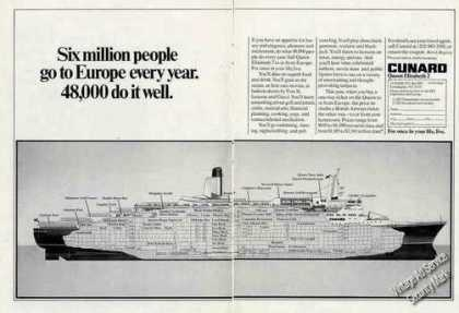Queen Elizabeth 2 Cutaway View Cunard Travel (1978)