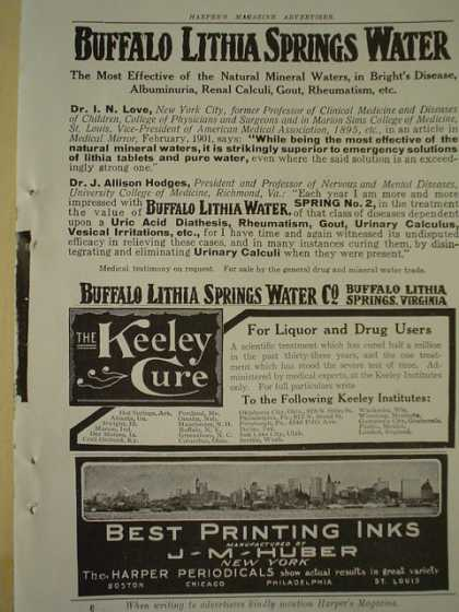Buffalo Lithia Springs Water AND J M Huber Printing inks (1913)