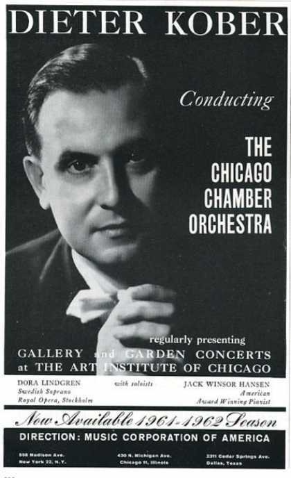 Dieter Kober Chicago Chamber Orchestra Booking (1961)