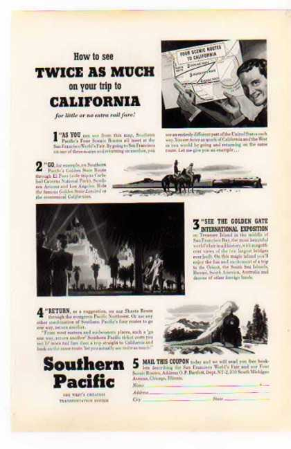 Southern Pacific Railroad – California Trip (1939)