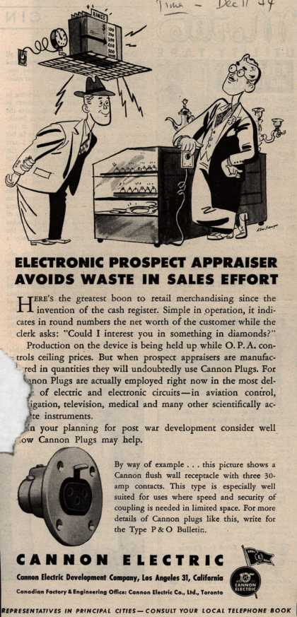 Cannon Electric Development Company's Cannon flush wall receptable plug – Electronic Prospect Appraiser Avoids Waste In Sales Effort (1944)