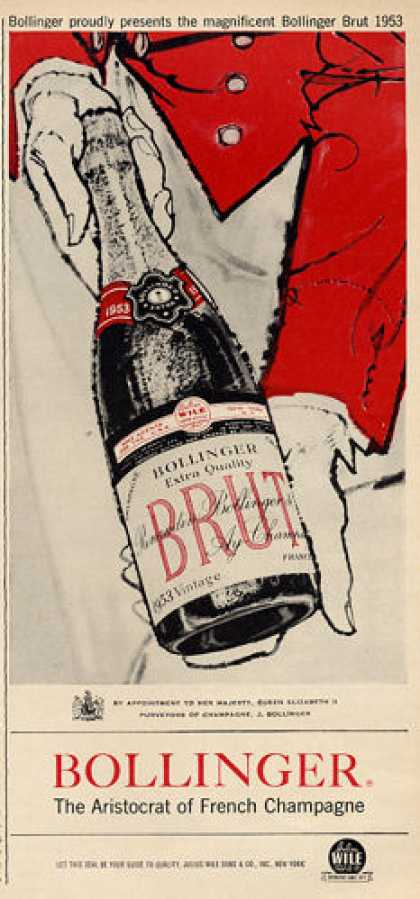 Bollinger Brut French Champagne Ad 1953 (1960)