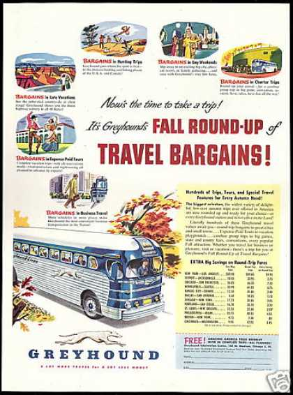 Greyhound Bus Travel Bargains Trip Fares (1950)