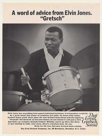Elvin Jones Gretsch Drums Photo (1970)