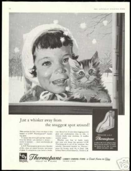 Cute Girl kitten LOF Thermopane Glass (1959)