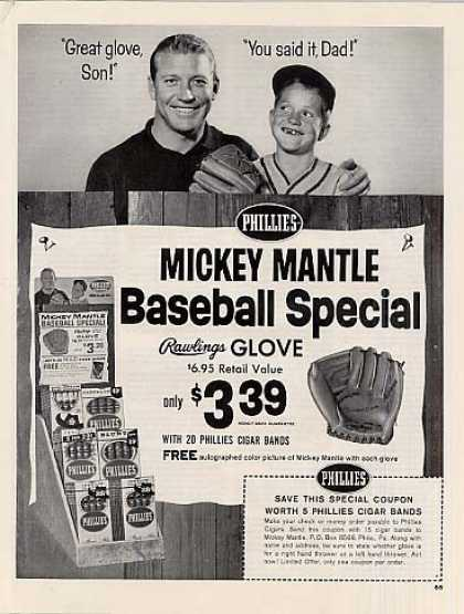Phillies Cigars Ad Mickey Mantle (1964)
