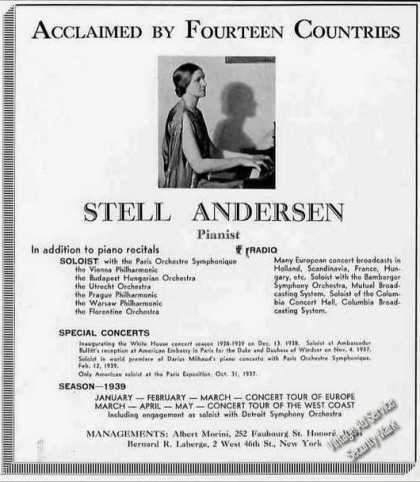 Stell Andersen Pianist Collectible Trade (1939)