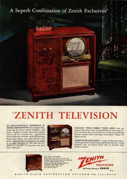Zenith Radio Corporation's Television (with circle screen) – A Superb Combination of Zenith Exclusives (1949)