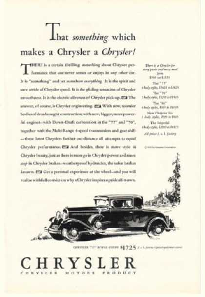 Chrysler 77 Royal Coupe Makes a Chrysler (1930)