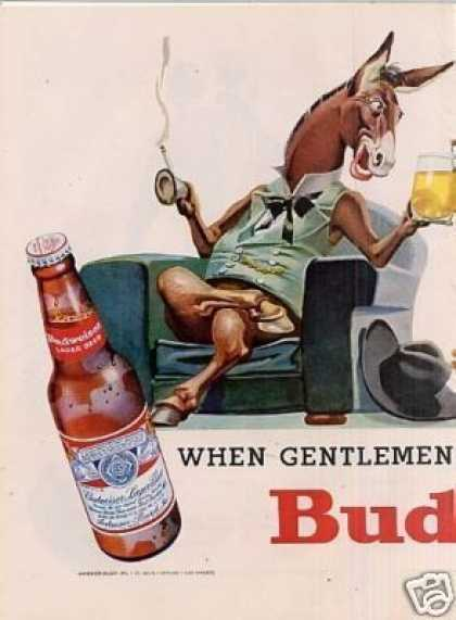 Budweiser Beer Ad 2 Page (1956)