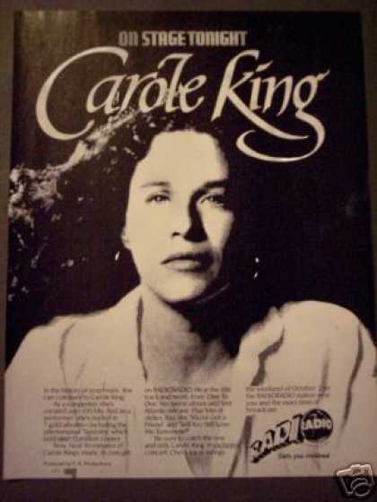 Carole King Photo Radio Concert Promo (1982)