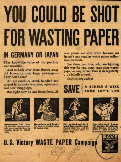 U. S. Government's Waste Paper – You Could Be Shot For Wasting Paper (1943)