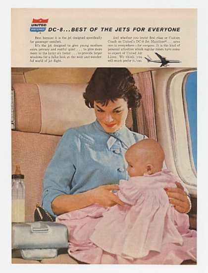 United Air Lines DC-8 Jet Comfort Mother & Baby (1960)