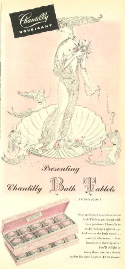 Chantilly Houbigant Bath Tablets Shell Mermaid (1945)