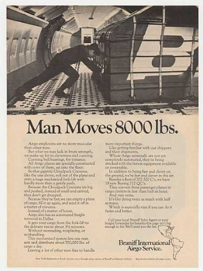 Braniff Airgo Cargo Service Man Moves 8000 lbs (1968)
