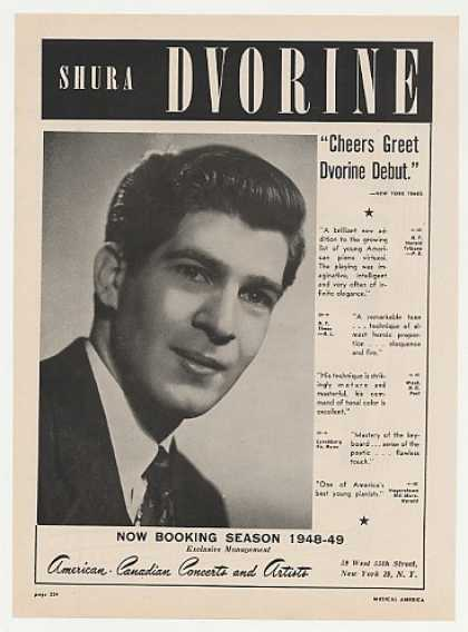 Pianist Shura Dvorine Photo Booking (1948)