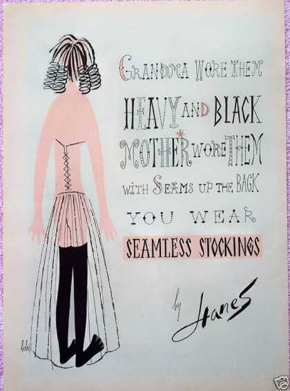 Hanes Stockings Back View Corset Black Thigh Hi (1954)