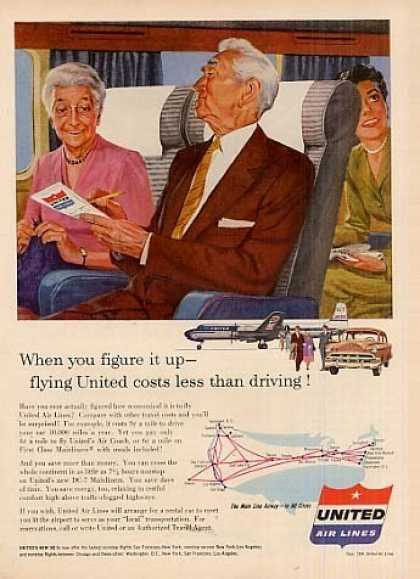 "United Air Lines Ad ""When You Figure... (1954)"