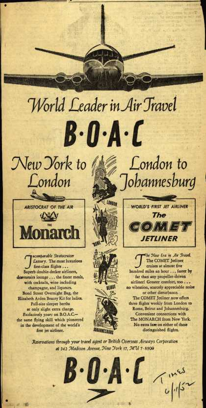 British Overseas Airways Corporation – World Leader in Air Travel BOAC (1952)